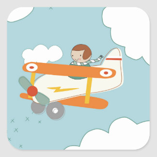 B is for Biplane Square Sticker