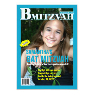 B Mitzvah Magazine Invitation in Turquoise