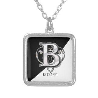 B - Modern Metallic Monogram (Silver) Silver Plated Necklace