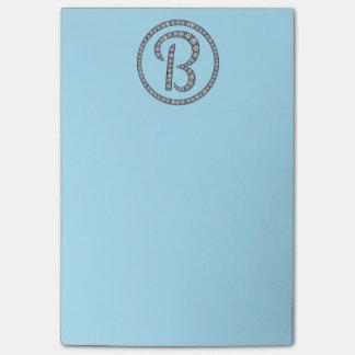 B Monogram bling ring Post-It note pad