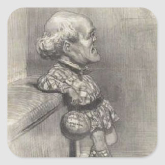 B. Sarrans Young by Honore Daumier Square Sticker