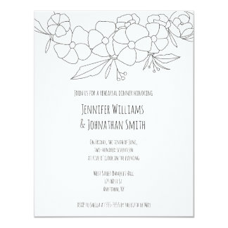 B&W floral rehearsal dinner invitations