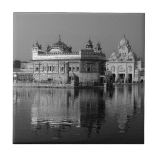 B&W Golden Temple in India Small Square Tile