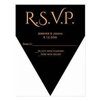 B&W Modern geometric wedding RSVP cards