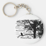 B&W Nevermore Raven Silhouette Keychains