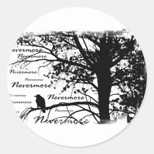 B&W Nevermore Raven Silhouette Round Sticker