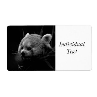 B&W red panda Shipping Label