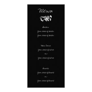 B&W Script Wedding Menu Rack Cards