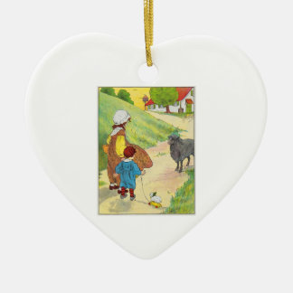 Baa, baa, black sheep, Have you any wool? Ceramic Heart Decoration