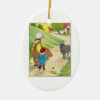Baa, baa, black sheep, Have you any wool? Ceramic Oval Decoration