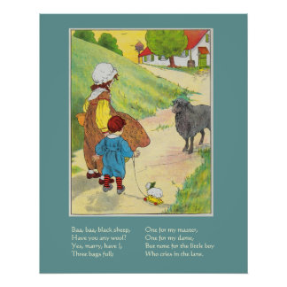 Baa, baa, black sheep, Have you any wool? Poster