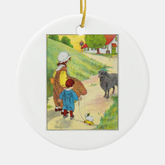 Baa, baa, black sheep, Have you any wool? Round Ceramic Decoration