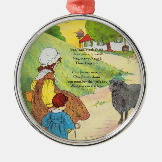 Baa, baa, black sheep, Have you any wool? Silver-Colored Round Decoration