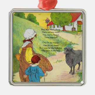 Baa, baa, black sheep, Have you any wool? Silver-Colored Square Decoration