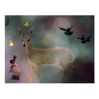 Babies forest fantasy postcard