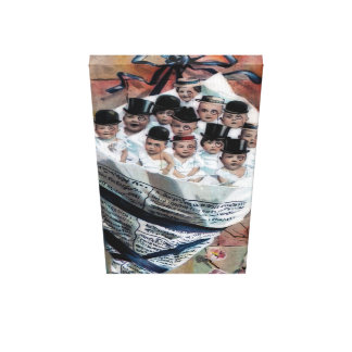 Babies in Newspaper Gallery Wrap Canvas