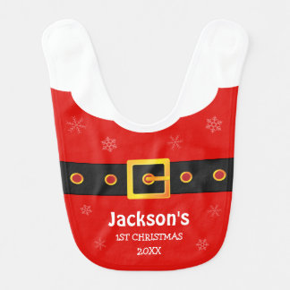 Baby 1st Christmas Red Funny Santa Claus Suit Bib