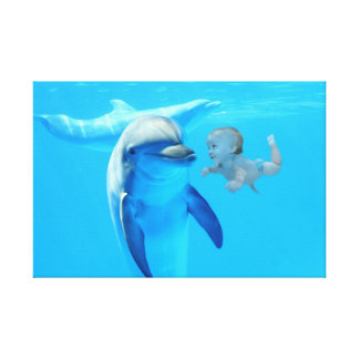 Baby and dolphin canvas print
