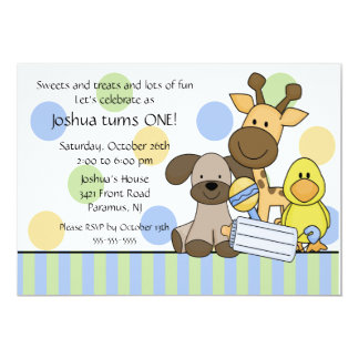 Baby Animals 1st Birthday Party Invitation