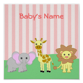 Baby Animals Child's Room Customisable Poster