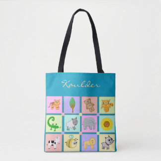 Baby Animals for the Baby - Blue Baby Tote/Handbag Tote Bag