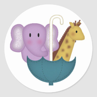 Baby Animals in an Umbrella Classic Round Sticker
