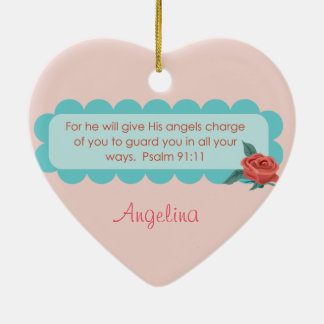Baby Announcement Birth Angel Quote Psalm 91 Rose Christmas Ornament