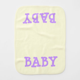 BABY BABY Purple Lettering on Light Yellow Baby Burp Cloth