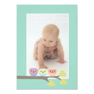 Baby Baptism Christening Aqua Owls Photo Invite