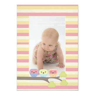 Baby Baptism Christening Cute Owls Photo Invite