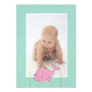 Baby Baptism Christening Pink Dolphin Photo Invite