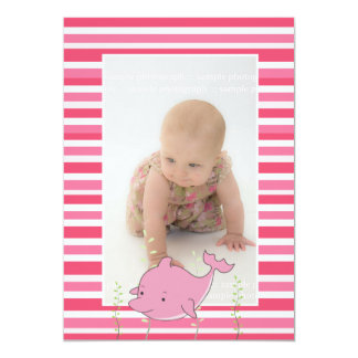 Baby Baptism Christening Pink Dolphin Photo Invite