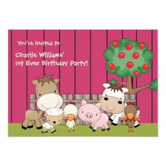 Baby Barnyard Buddies Pink 13 Cm X 18 Cm Invitation Card