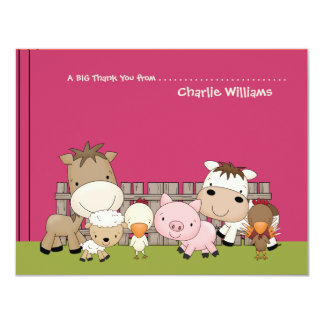 Baby Barnyard Buddies Pink Thank You Card 11 Cm X 14 Cm Invitation Card