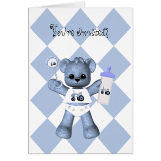 Baby Bear and Blue Tractor Shower Invitation Greeting Card
