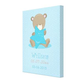 Baby Bear Blue Boy Holding a star Gallery Wrap Canvas