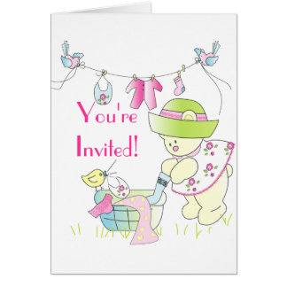 Baby - Beary Busy Baby Girl Card
