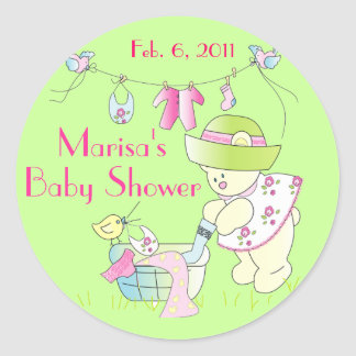 Baby - Beary Busy Baby Girl Round Sticker