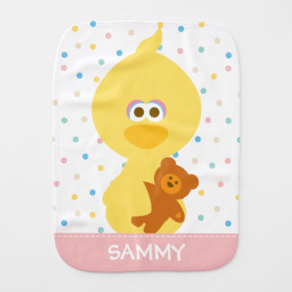 Baby Big Bird and Teddy | Add Your Name Burp Cloth