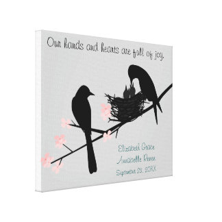 Baby Birds in Nest  Personalized for Twins Canvas Print