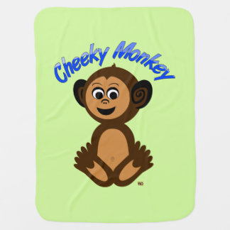 """Baby Blanket, Graphic Design """"CHEEKY MONKEY"""" Swaddle Blankets"""