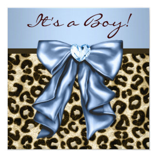 Baby Blue Brown Leopard Baby Boy Shower Card