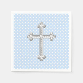 Baby Blue Cross Christening Paper Napkins