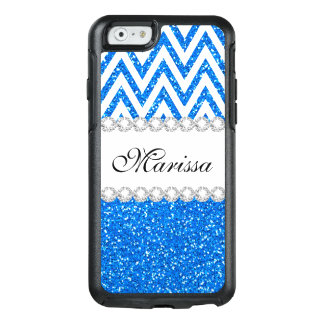 Baby Blue Glitter Chic White Chevron Pattern OtterBox iPhone 6/6s Case