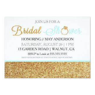 Baby Blue Gold Glitter Bridal Shower Invitation