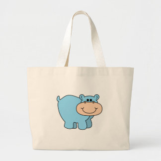 baby blue hippo large tote bag