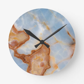 Baby Blue Marble with Rusty Veining Round Clock