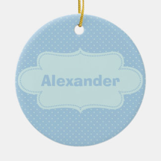 Baby Blue Polka Dots with Label Christmas Ornament