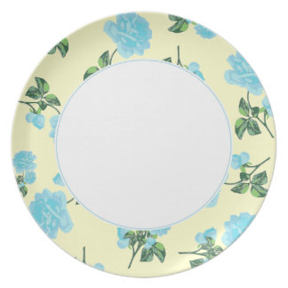 Baby Blue Roses on shabby chic cream floral plate