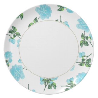 Baby Blue Roses on shabby chic white floral plate